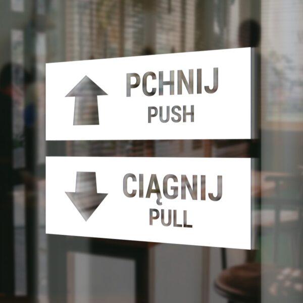 """Naklejka na drzwi """"Pchnij - Ciągnij""""."""
