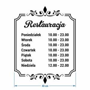 Restauracja - godziny otwarcia. Naklejka wycinana z białej folii.