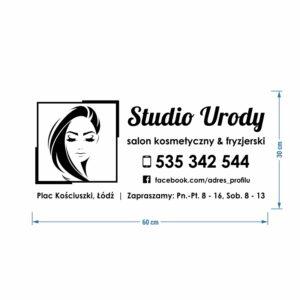 """Naklejka na bok samochodu """"Studio Urody - salon kosmetyczny & fryzjerski"""""""