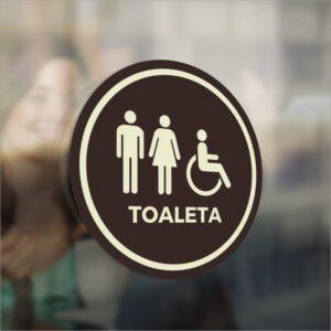 Oznaczenie toalety. Panie, panowie, osoby niepełnosprawne.