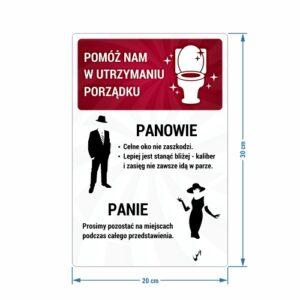 Pomóż nam w utrzymaniu porządku. Naklejka. Toaleta.