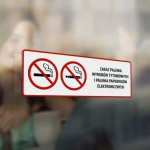 Naklejka: Zakaz palenia wyrobów tytoniowych i palenia papierosów elektronicznych.