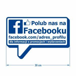 Naklejka społecznościowa. Facebook. Naklejka na witrynę, szybę, drzwi.